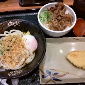 温玉ぶっかけ小(冷)+牛肉ごはん+鶏天