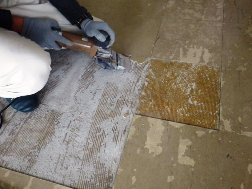 床の修繕 タイル剥がし