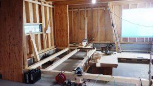 2階リビング木工事中